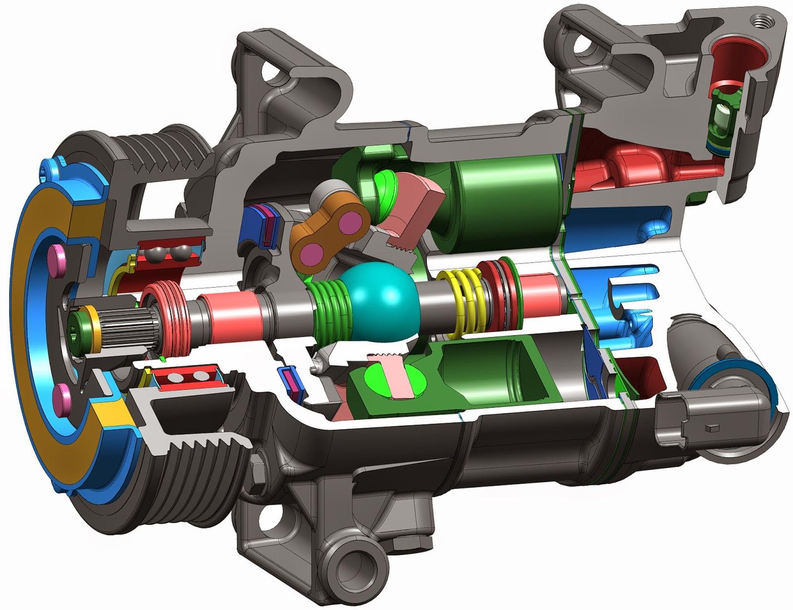 компрессор автомобильного кондиционера в разрезе