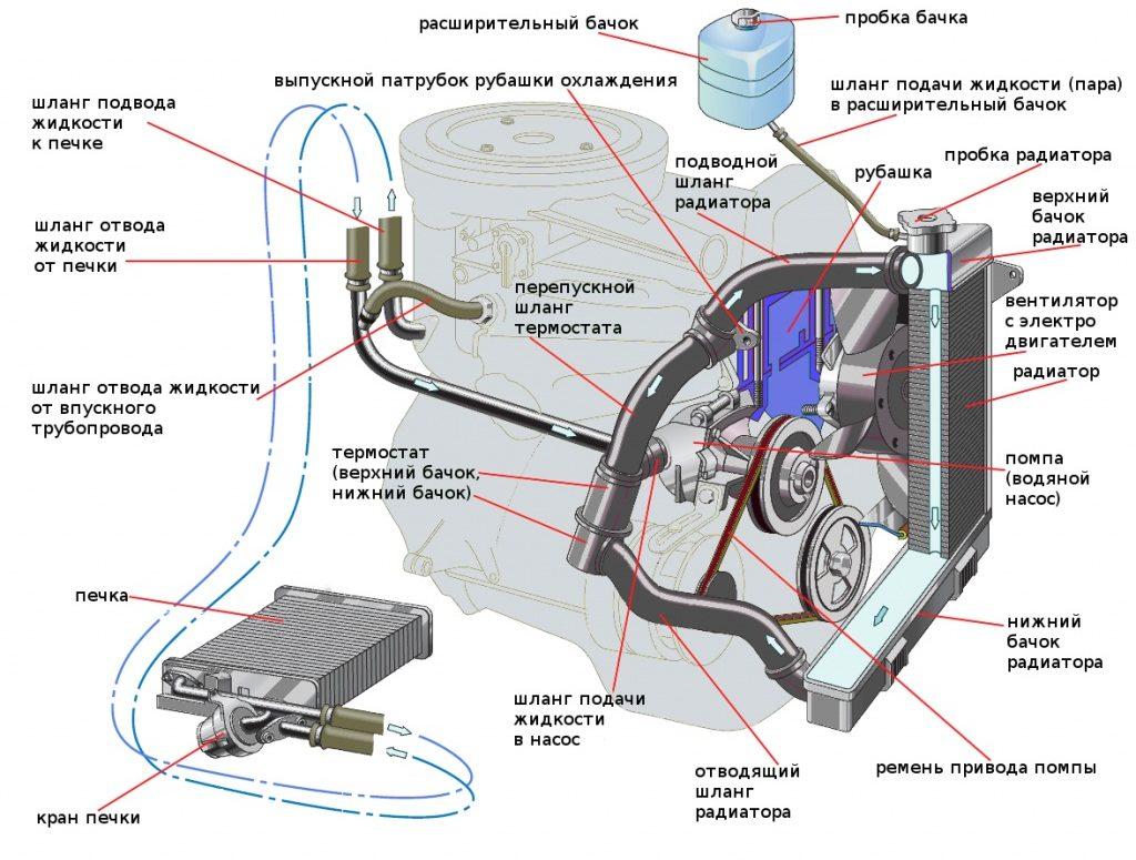 Устройство системы охлаждения автомобиля